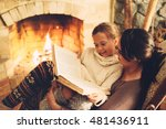 mom with child reading book and ... | Shutterstock . vector #481436911