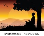 man meditating in sitting yoga... | Shutterstock .eps vector #481439437