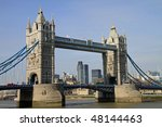 Beautiful Tower Bridge and the Thames River in Central London - stock photo