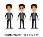 funny cartoon guy with jacket... | Shutterstock .eps vector #481447549