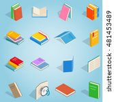 isometric book set icons....