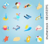 isometric beach set icons....
