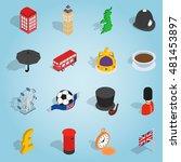 isometric britain icons set....
