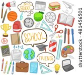 school day doodle icons hand... | Shutterstock .eps vector #481456501