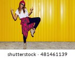 young stylish hipster  girl... | Shutterstock . vector #481461139