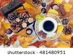 autumn cup of black coffee ... | Shutterstock . vector #481480951