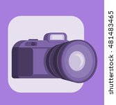 camera icon in trendy flat 3d...
