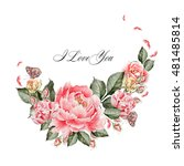 beautiful watercolor card with... | Shutterstock . vector #481485814