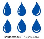 Set Of Blue Glossy Water Drops...