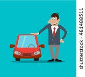 the businessman costs near car. ... | Shutterstock .eps vector #481488511