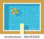 swimming pool top view with... | Shutterstock .eps vector #481493305