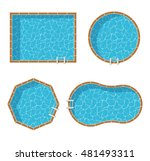 swimming pools top view set... | Shutterstock .eps vector #481493311