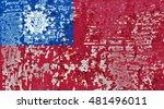 the myanmar flag painted on... | Shutterstock . vector #481496011