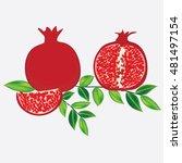 grenades dark red with ripe... | Shutterstock .eps vector #481497154