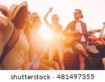 enjoying road trip with best... | Shutterstock . vector #481497355