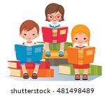 group of children reading...