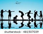 group of children silhouettes... | Shutterstock .eps vector #481507039