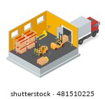loading or unloading a truck in ... | Shutterstock .eps vector #481510225