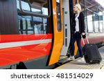 young woman with wheeled... | Shutterstock . vector #481514029