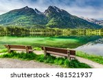 two wooden bench at the... | Shutterstock . vector #481521937
