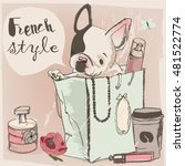 little cute glamour bulldog on... | Shutterstock .eps vector #481522774
