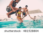 enjoying pool party with... | Shutterstock . vector #481528804