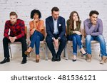 Stock photo group of stressful university students waiting for exam test 481536121