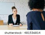 recruiter asking questions  ... | Shutterstock . vector #481536814