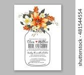 romantic pink peony bouquet... | Shutterstock .eps vector #481544554