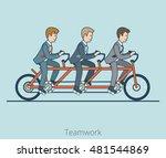 linear flat three businessmen...   Shutterstock .eps vector #481544869