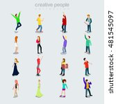 flat modern young people... | Shutterstock .eps vector #481545097