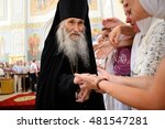 Small photo of Orel, Russia - July 28, 2016: Russia baptism anniversary Divine Lutirgy. Starets Iliya, Putin's duhovnik, orthodox Christian monk blessing parishioners closeup