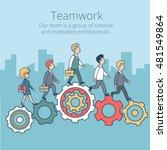 linear flat businesspeople... | Shutterstock .eps vector #481549864