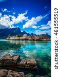lofoten islands is an... | Shutterstock . vector #481555519