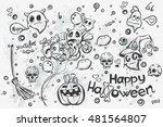 cute hand drawn halloween... | Shutterstock .eps vector #481564807