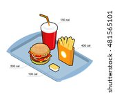 fast food set. calorie dishes.... | Shutterstock . vector #481565101