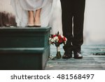 wedding bouquet stands before... | Shutterstock . vector #481568497