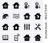 heating and cooling icons. hvac ... | Shutterstock .eps vector #481571449
