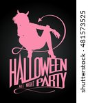halloween party sign  devil... | Shutterstock .eps vector #481573525