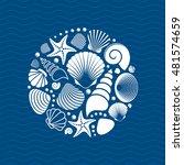 white vector summer sea shells... | Shutterstock .eps vector #481574659