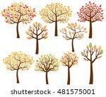 Vector Set Of Autumn Tree...