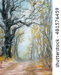 autumn misty forest with a path ... | Shutterstock . vector #481576459