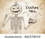 human skeleton with halloween... | Shutterstock .eps vector #481578919