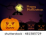 halloween night blurred... | Shutterstock .eps vector #481585729