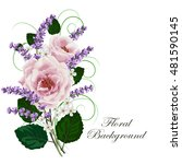 beautiful pink roses and... | Shutterstock .eps vector #481590145