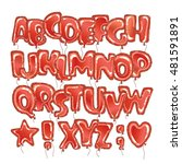 hand drawn balloons alphabet.... | Shutterstock .eps vector #481591891