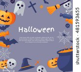halloween background. vector... | Shutterstock .eps vector #481593655