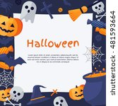 halloween background. vector... | Shutterstock .eps vector #481593664