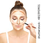 contouring.make up woman face.... | Shutterstock . vector #481593901