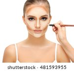 contouring.make up woman face....   Shutterstock . vector #481593955